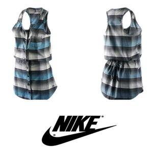 New NIKE 6.0 Plaid Fillmore Dress sz L Grey/Aqua